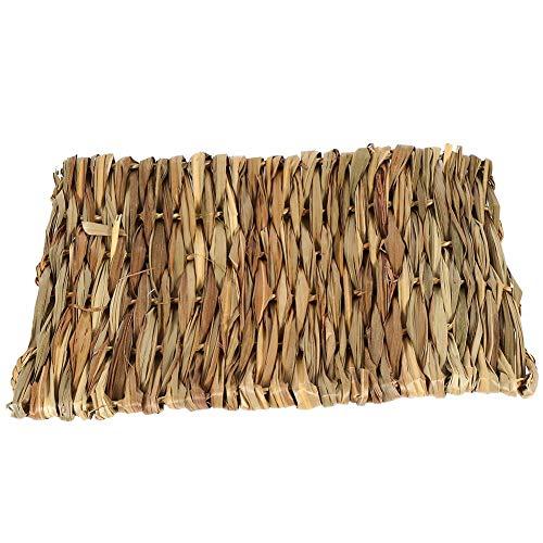 Socialme 2 tamaños pequeños animales tejidos a mano, estera de hierba no tóxica para masticar conejos cama comestibles para tejer a mano almohadillas de hierba para mascotas (S)