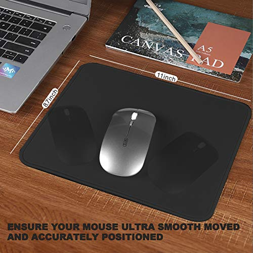 Mouse Pad with Stitched Edge 3 Pack, 30% Larger Gaming Mouse Pad with Non-Slip Rubber Base, Washable Mousepads Bulk with Smooth Surface, Comfortable Mouse Pads for Laptop,Office 11x8.7x0.12in, Black Photo #3