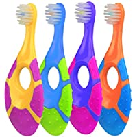 4 Pack Fu Store Toddler Toothbrush with Easy-Grip Finger Handle