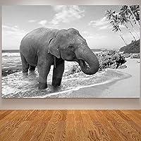キャンバスの絵画はキャンバスに印刷しますダークアフリカ象のポスターリビングルームの装飾のための黒と白の壁の写真壁アート70x100cmフレームレス