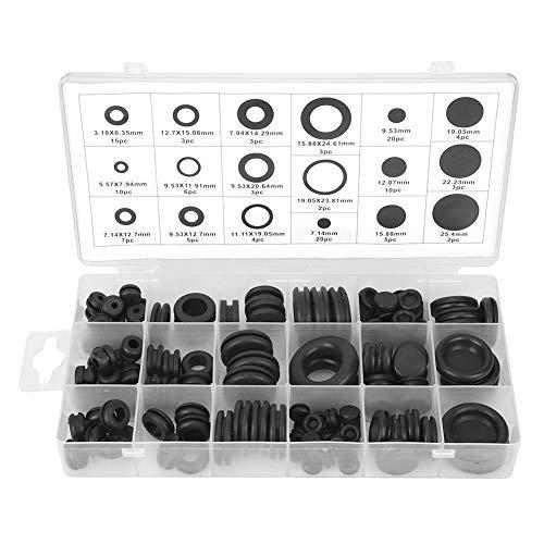 Arandela de goma, 125 piezas Kit de surtido de arandelas de goma Juego de surtido de juntas de juntas de cables eléctricos arandelas para proteger agujeros, cables, alambres 23x10x3cm/9.1x3.9x1.2in