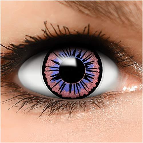 Farbige Kontaktlinsen Fee in lila schwarz + Behälter - Top Linsenfinder Markenqualität, 1Paar (2 Stück)