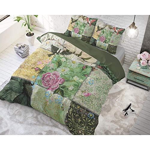 SLEEP TIME Bettwäsche Baumwolle Blumengarten, 200cm x 220cm, Mit 2 Kissenbezüge 60cm x 70cm, Grün
