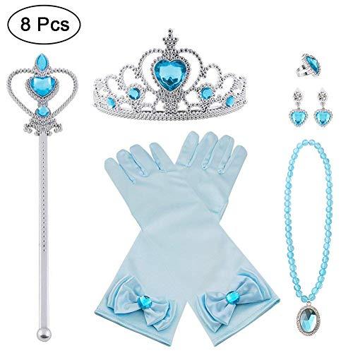 Vicloon Princesa Vestir Accesorios, Elsa Princesa Accesorios de disfraces, Regalo Conjunto de Belleza - Corona Anillo Sceptre Collar Pendientes Guantes para Niña