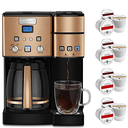 Cuisinart SS-15CP 12 Cup Coffeemaker and Single Serve Brewer Copper Bundle w/ 3 Year Warranty with Colombian Single Serve Brew 12 Cups of Coffee
