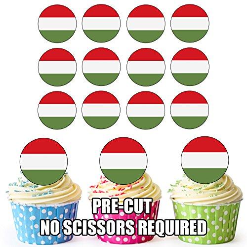 Hongarije Vlag - 24 Eetbare Cupcake Toppers/Verjaardag Cake Decoraties - Easy Precut Circles