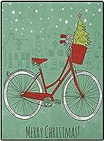 カーペット 拭ける やわらかい マット多機能 180*250 カーペット用クリスマスデスクマットソフトエリアラグガールズルーム用手描きヴィンテージバイク小さなクリスマスツリーハウスシルエットスノーアーモンドグリーンレッドホワイト 四季用 防ダニ 室内
