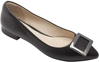Rain Women's Flats - Pointy Toe Ballet Flat Black Leather 7M