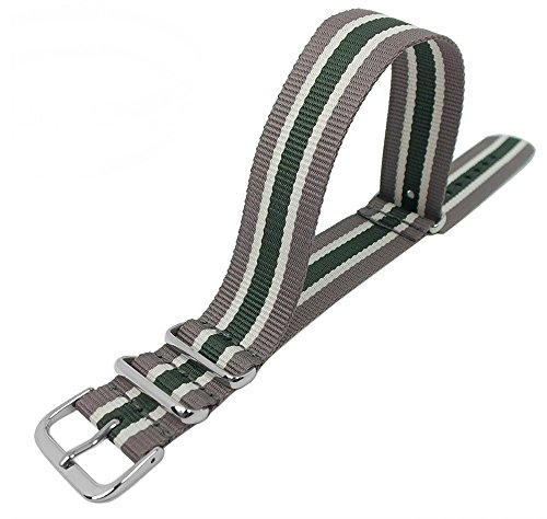 Uhrenarmband Durchzugsband Perlon Band mit Metallschlaufen 18mm Mehrfarbig - 29048, Farbe:graugrün
