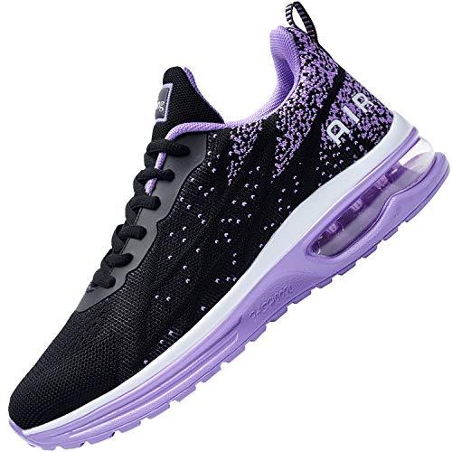 Auperf Zapatillas deportivas para mujer, de malla transpirable, deportivas, tenis y caminar (US5.5-10 B(M), (Negro púrpura), 36.5 EU