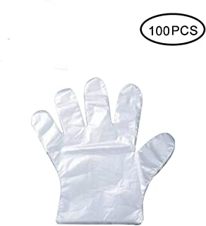 BXKEJI 100pcs plastic gloves food preparation gloves clean PE gloves for restaurants