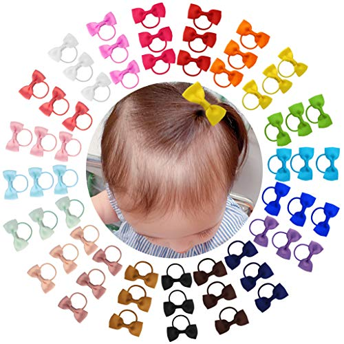Dxhycc 60pcs Baby Girls Bow Elastic Hair Ties, Tiny Hair Bows with Elastic Loop for Infants Toddlers Girls Kids