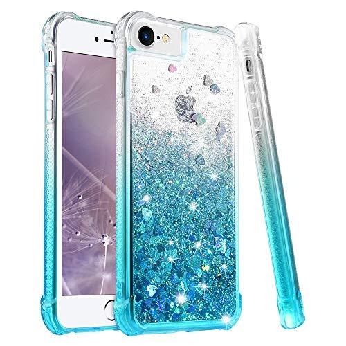 wlooo Hülle für iPhone SE 2020, iPhone 6 6s 7 8 Glitzer Handyhülle, Glitter Flüssig Treibsand Weich Silikon TPU Bumper Schutzhülle Mädchen Frauen Case für iPhone SE 2020/6/6S/7/8 (Gradient Teal)