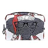 Bolsa de cosméticos Bolsa de Maquillaje Bolsa de cosméticos de Viaje, Bolso de Mano, Bolso de baño,Elefante suéter de Navidad Gorro de Papá Noel