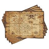 ABAKUHAUS Mapa de la Isla Salvamantel Set de 4 Unidades, Papel Viejo Mapa del Tesoro, Material Lavable Estampado Decoración de Mesa Cocina, Beige Brown