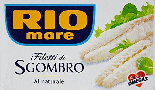 Rio Mare Filetti di Sgombro, al Naturale, Ricchi di Omega 3, 10 Lattine da 125  g
