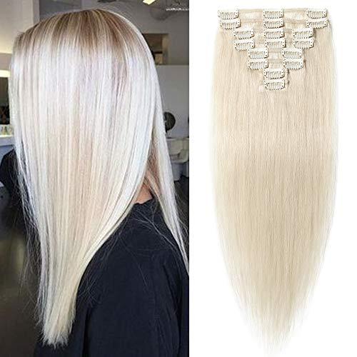 """TESS Echthaar Extensions Clip in Platinblond #70 Remy Hair Extensions günstig Haarverlängerung 18 Clips 8 Tressen Lang Glatt Haar, 14\""""(35cm)-60g"""