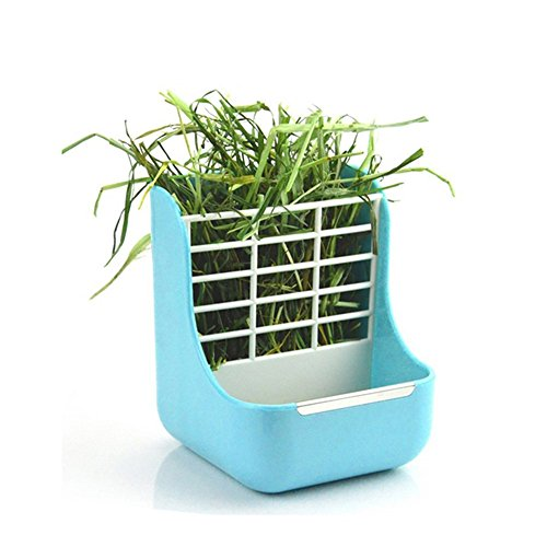 Okared 2 in 1 Feeder Bowls Double use for Grass and Food Hay Food Bin Feeder, Small Animal Supplies Rabbit Chinchillas Guinea Pig Blue