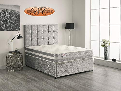 Bed Centre Silver Crush Velvet Divan Bed with Matching Mattress and Headboard 3ft 4ft 4ft6 5ft 6ft (3FT (Single))