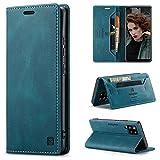 HülleNN Kompatibel mit Samsung Galaxy A42 5G Hülle Handyhülle Premium Leder Flip Hülle Magnetisch Klapphülle Wallet Lederhülle für Männer Frauen RFID Schutz Silikon Bumper Schutzhülle Geldbörse Blaugrün