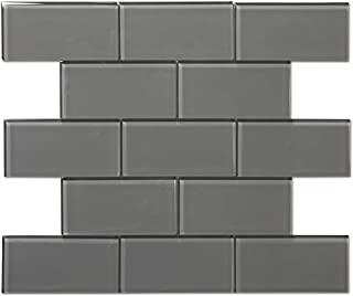 Diflart 3x6 Inch Grey Glass Subway Tiles Backsplash for Kitchen Bathroom Pack of 40