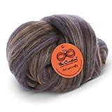 Extra Fine Merino Wool Roving Tussah Silk Blend - Wet Felting - Nuno Felting - Needle Felting - Spinning - Knitting - Weaving - Purple Grey Beige 100g/3.5oz Coffee Color