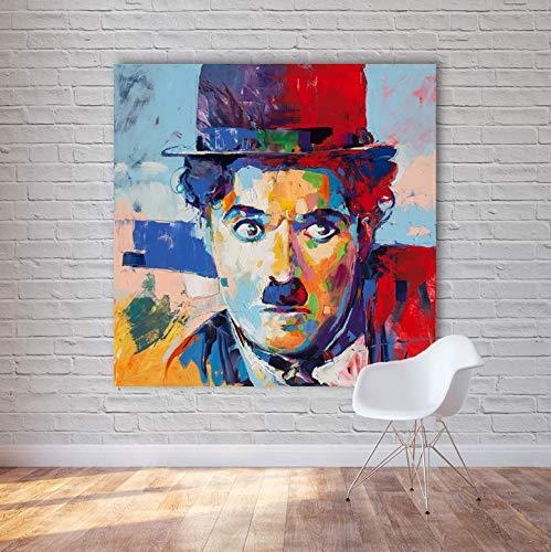 REDWPQ Quadri Astratti Moderni su Tela Charlie Chaplin Immagini per pareti Pop Art per Soggiorno Decorazioni per la casa Pittura 50 * 50 cm Senza Cornice