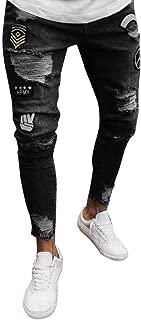 2019 Newest Mens Ripped Skinny Slim Fit Jeans, Male Biker Distressed Holes Letter Print Elastic Denim Trousers