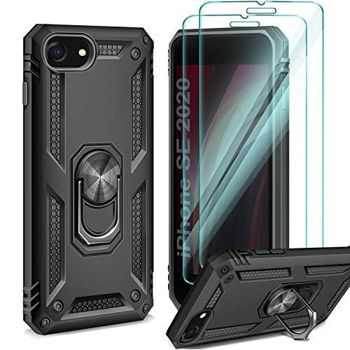 AROYI Funda Compatible con iPhone SE 2020/8/7 con 2 Unidades Cristal Templado Film, 360 Grados Anillo iman Soporte Bumper - Negro
