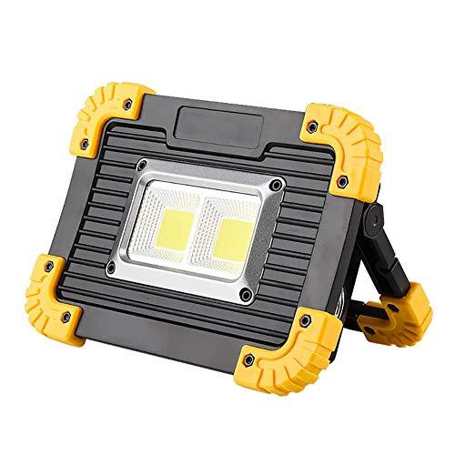 20W 800LM LED Luz de trabajo Proyector portátil recargable, luz de seguridad de emergencia 4 modos de brillo, exterior IP44 Foco impermeable para obra de construcción Luz de emergencia de garaje