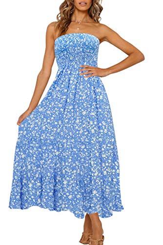 ZESICA Women's Summer Bohemian Floral Printed Strapless Beach Party Long Maxi Dress Blue