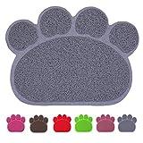 Premium Pet Tappetini Sottociotola per Cibo per Cani e Gatti, Impermeabile Antiscivolo Pet Feeding Bowl Pet Litter Trey Tappetino per Gatto e Cane, Medio, Grigio