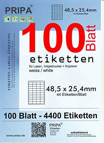 pripa - Amazon FBA Versand Etiketten 48,5 x 25,4 mm - 44 Stueck auf A4 100 Blatt DIN A4 selbstklebende Etiketten = 4400 Etiketten