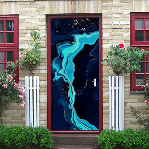 ZANSENG Moderne Kunst 3D Türaufkleber, Blauer Marmor Gold abstrakte Hintergrund Textur Peel und Stick abnehmbare Vinyl Tür Aufkleber für Wohnkultur, 30,3