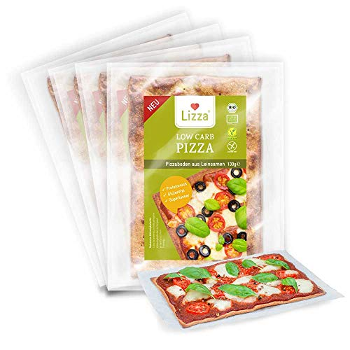 Lizza Low Carb Original Pizzaböden | Gesunde Pizza | 91% weniger Kohlenhydrate | Bio. Glutenfrei. Vegan. | Protein- & Ballaststoffreich | Ohne Zuckerzusatz | Ohne Konservierungsstoffe | 4x Pizzaböden