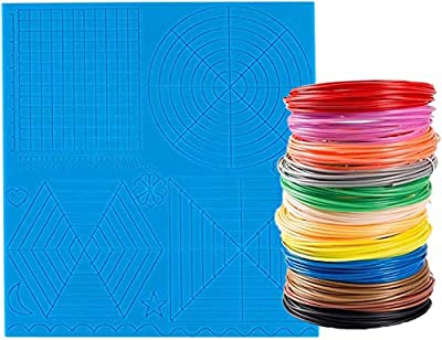3D Printer Pen Silicone Mat with 12 Color PLA Filament 1.75mm Gift for Kids to Start 3D Printing and Create 3D Art (Basic Big Template +12 Color Filament)