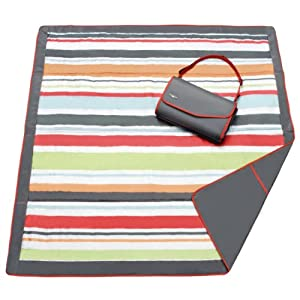 JJ Cole Water-Resistant Outdoor Blanket with Adjustable Bag Strap, Gray/Red Stripe, 5′ x 5′