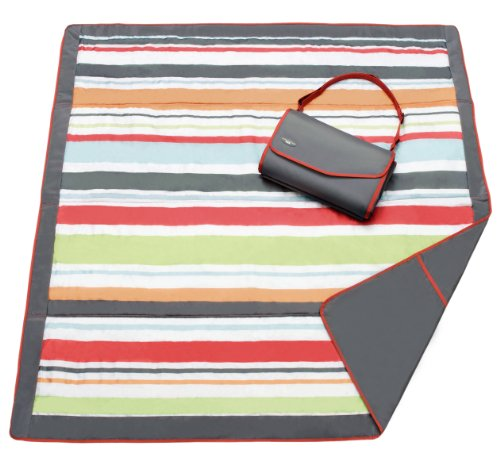 JJ Cole Outdoor Blanket, 5' x 5', Gray/Red