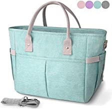 KIPBELIF Insulated lunch bags for women - Large Tote Adult Lunch Box for Women with Shoulder Strap, Side Pockets and Water Bottle Holder, Aqua Green, Normal Size