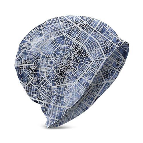Gorros Unisex, Gorro de Punto con Mapa de la Ciudad de Milán, Italia, Gorro de Punto, cálido Invierno, Verano, Sombreros de Punto para niñas y niños