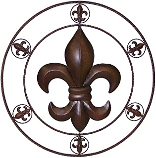 LL Home 21593 Metal Circled Fleur De Lis Wall Décor, 25.5