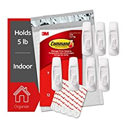 Includes; 7 large, white command utility hooks and 12 large command strips; 1 hook holds up to 5 pounds DAMAGE FREE ORGANIZATION: Say goodbye to holes, marks, or sticky residue on your walls, doors, cabinets, or closets; Command hooks by 3M are easy ...