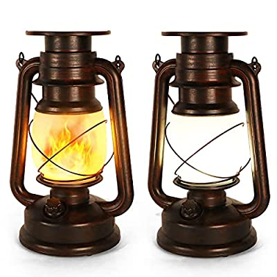 Solar Lantern Vintage LED Storm Lantern Dancing Flickering Flame Two Modes Solar Powered Lights Waterproof Hanging Outdoor Garden or Room Ornaments Auto On Off for Camping Yard Patio Porch 2 Pack