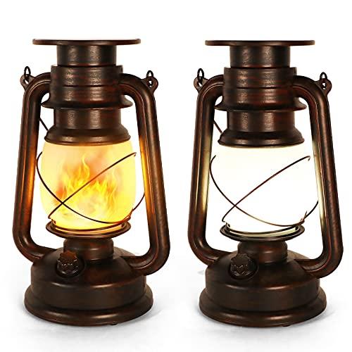 Lanterna Solare da Esterno Vintage LED Lanterne di Tempesta Fiamma Tremolante Due...
