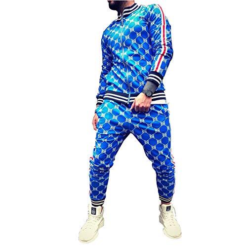 GOLOFEA Set de chándal de Hombre Juego de Manga Larga Cremallera de Fondos de Fondos Deportes, Chaqueta Deportiva de Collar de pie, Ocio y Viaje cómodo chándal a Cuadros Blue-XXL(185~190cm)