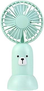HUI JIN Mini ventilador de dibujos animados de animales, carga por USB, pequeño bolsillo portátil, se puede colocar en cualquier lugar donde quieras soplar aire fresco verde