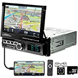 Car Stereo Single Din in Dash GPS Navigation 7 Inch Motorized Flip Out Touch Screen Bluetooth Car Radio Head Unit Car MP5 FM/USB/TF/AUX-in, Mirror Link, Remote Control + Rear View Camera 8G Map Card