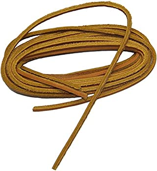 GREATLACES 1/8 inch Square Cut Leather Boat Shoe Replacement Shoelaces Leather Laces  2 Pair Pack   45 Inch 114 cm Tan