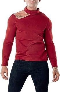 YANGPP Maglioni da uomo Maglione Pullover Maglione da Uomo Tinta Unita Collo Alto E Spalle Scoperte