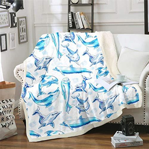 Manta de sherpa con diseño de delfín de dibujos animados para niños y niñas, manta de felpa azul de acuarela para decoración de animales acuáticos, manta difusa para sofá cama, individual 126 x 152 cm